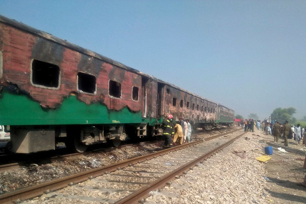 At least 71 have been killed in a Pakistan train fire.