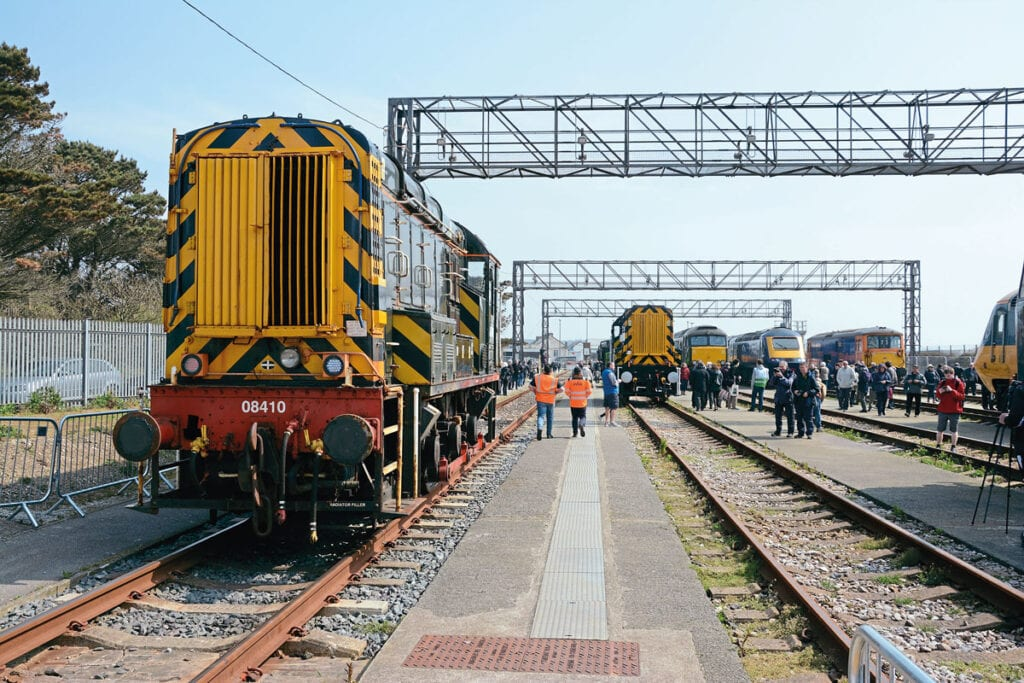 Some of the locos visitors could see with (from left) Nos. 08410, 08645, 57604, 43162, 73107 and 43002.
