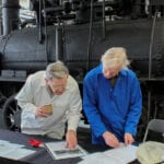 Dr Michael Bailey and Peter Davidson with the Hetton locomotive